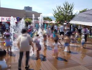 [子供とお出かけ] 阪急西宮ガーデンズで水遊び、日陰が無くて熱中症注意